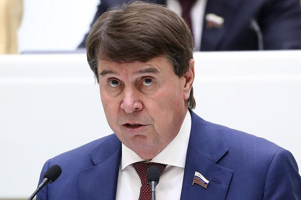 Сенатор Сергей Цеков во время выступления на пленарном заседании. Фото: Валерий Шарифулин/ТАСС