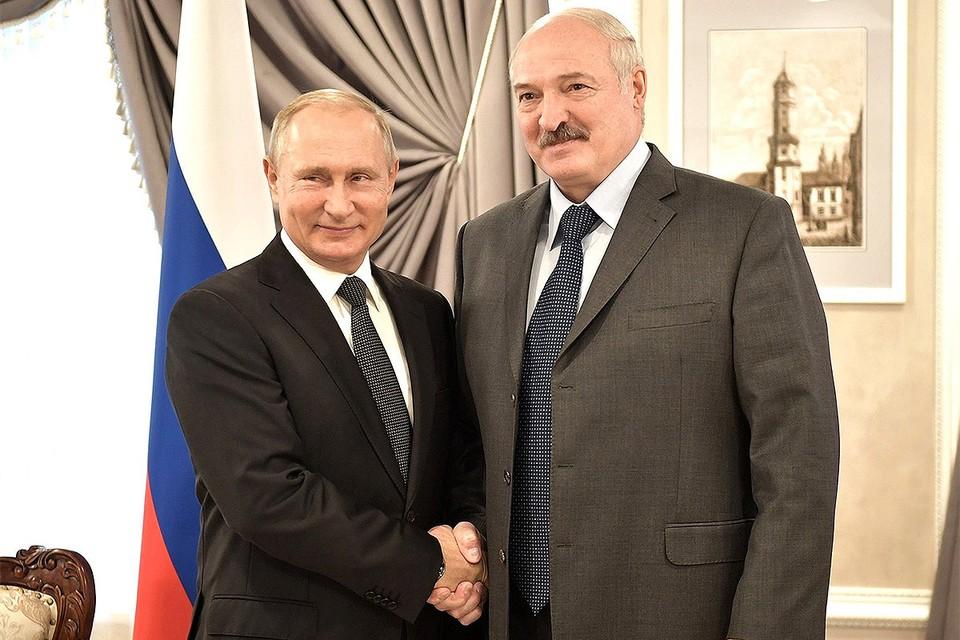 Президенты Владимир Путин и Александр Лукашенко во время встречи в Минске, 2019 г.