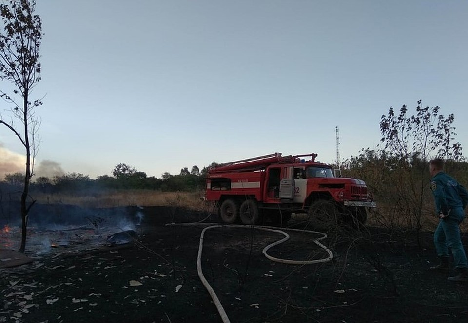 Работу пожарных осложняет ветер. Фото: ГУ МЧС России по РО.