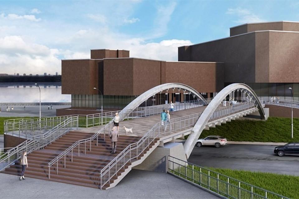 Пешеходный мост у филармонии Красноярска начнут строить в 2020 году. Фото: «Гражданское проектирование».