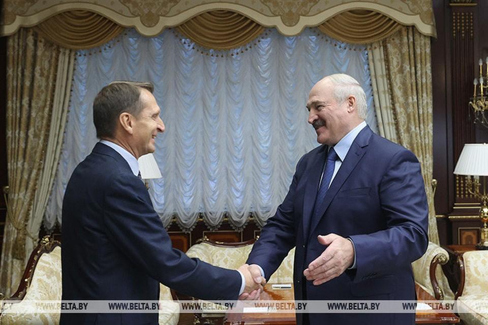 Лукашенко проводит встречу с Нарышкиным. Фото: БелТА