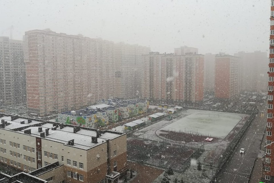 Снег в городе будет идти до конца дня