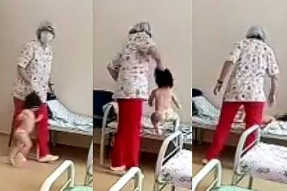 Медсестра не щадила ребенка. Фото: стоп-кадр.