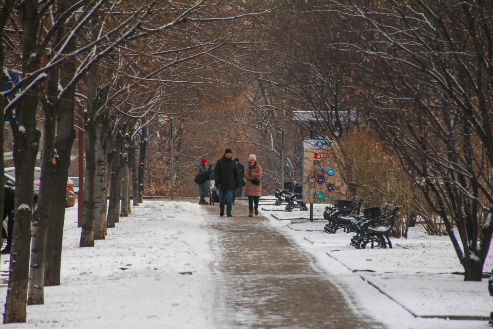 Улицы Донецка притрусило белым покрывалом