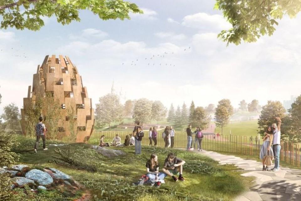 Так, например, может выглядеть смотровая площадка в Преображенском парке Академического. Фото: архитектурное бюро «IN.FORM», предоставлено администрацией Екатеринбурга