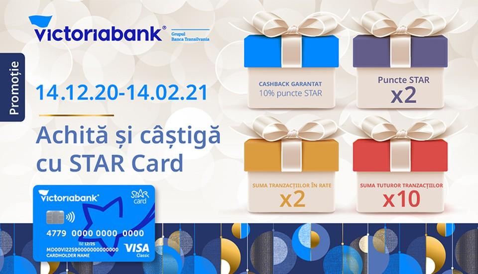 Расплачивайся картой STAR Card от Victoriabank-а и гарантированно получай кэшбек, а также зарабатывай умноженные баллы STAR . Фото:victoriabank.md