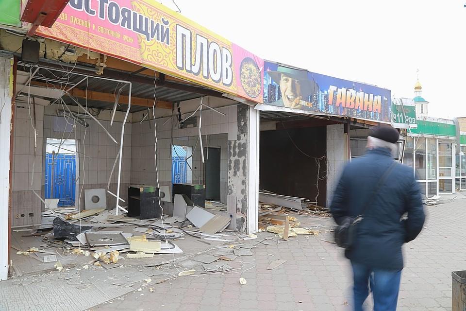 В Красноярске сносят торговые павильоны