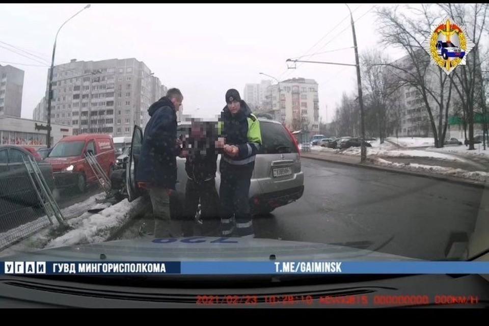 В Минске задержали водителя с 3,49 промилле алкоголя. Фото: скриншот с видео УГАИ ГУВД Мингорисполкома