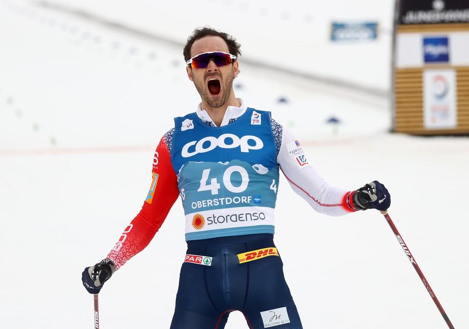 Ханс Кристер Холунд после финиша.