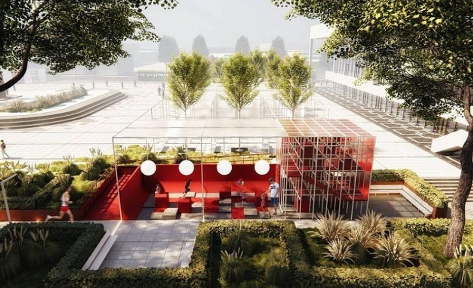 """На площади хотят сделать зоны для отдыха и активного препровождения. Фото: архитектурное бюро """"ok_architects"""""""