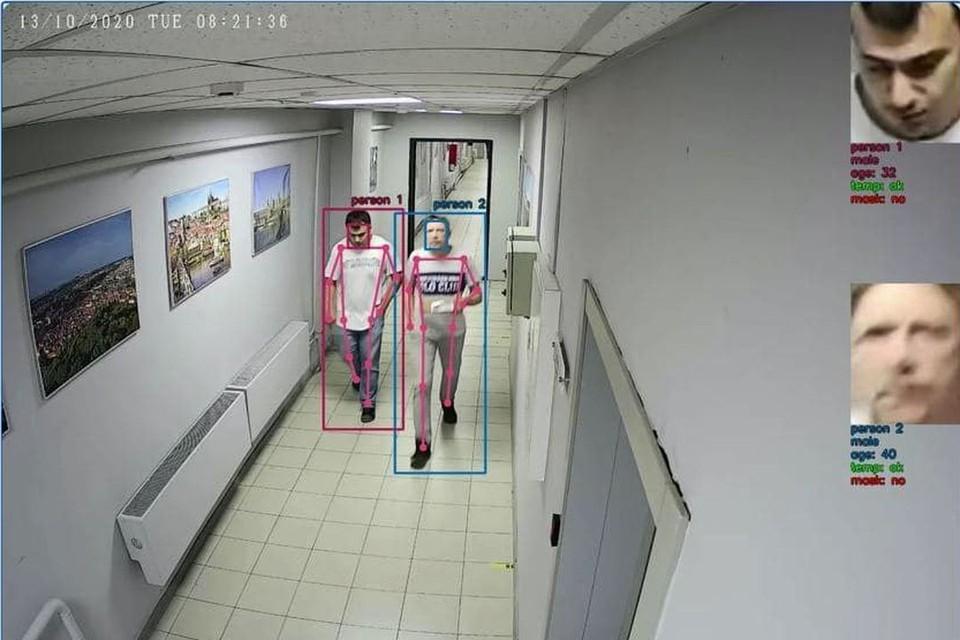 Камера считала, что по коридору идут два мужчины, определила их примерный возраст и то, что они здоровы. Фото: Предоставлено компанией Enter Ideas