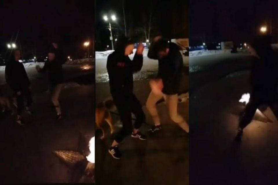 На серии снимков можно разглядеть, как двое молодых людей танцуют в непосредственной близости от «Вечного огня» в Парке Победы. Фото: vk.com/zlo43