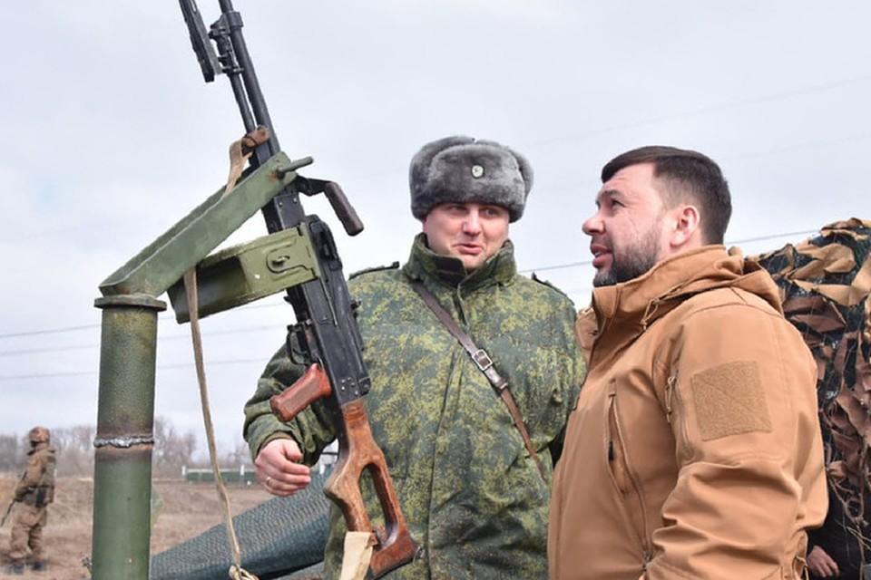 Глава ДНР на полигоне лично вел огонь из пулемета по воздушным целям. Фото: denis-pushilin.ru