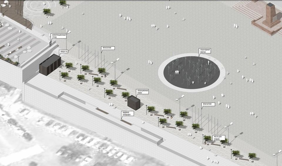 Схема будущего благоустройства центральной площади Владивостока