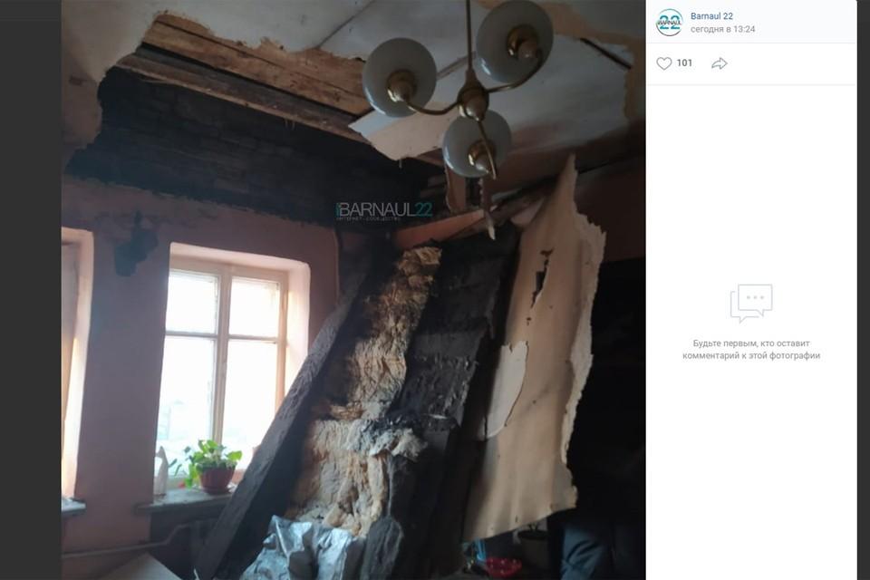 Обрушенный потолок на улице Матросова, 197 (фото: скриншот страницы vk.com/barneos22)