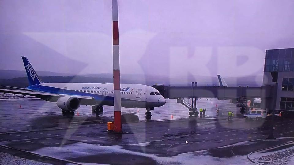 Приземлившийся японский самолёт в Красноярском аэропорту
