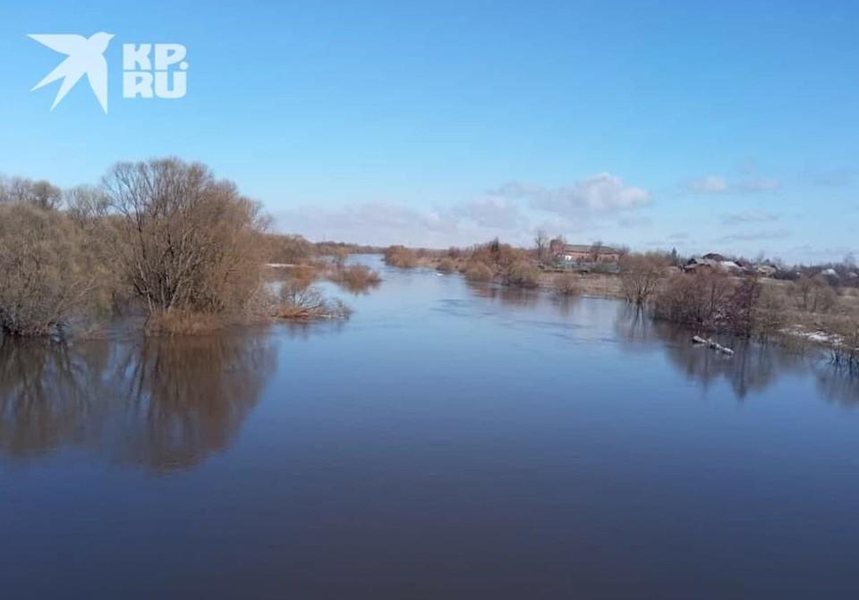 Половодье в Кораблинском районе: река Мостья затопила мост.