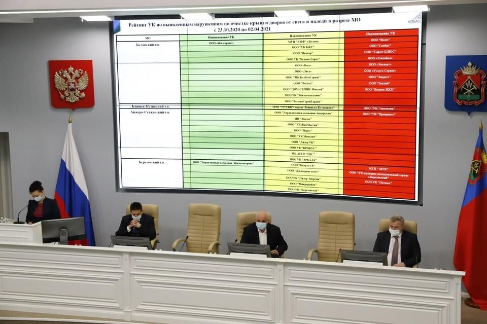 Губернатор Кузбасса отчитал глав городов и районов за плохую уборку снега. Фото: Пресс-служба АПК
