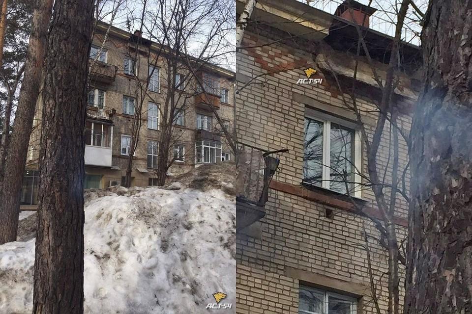 """В Новосибирске отломилась часть пятиэтажки. Фото: """"АСТ - 54""""."""