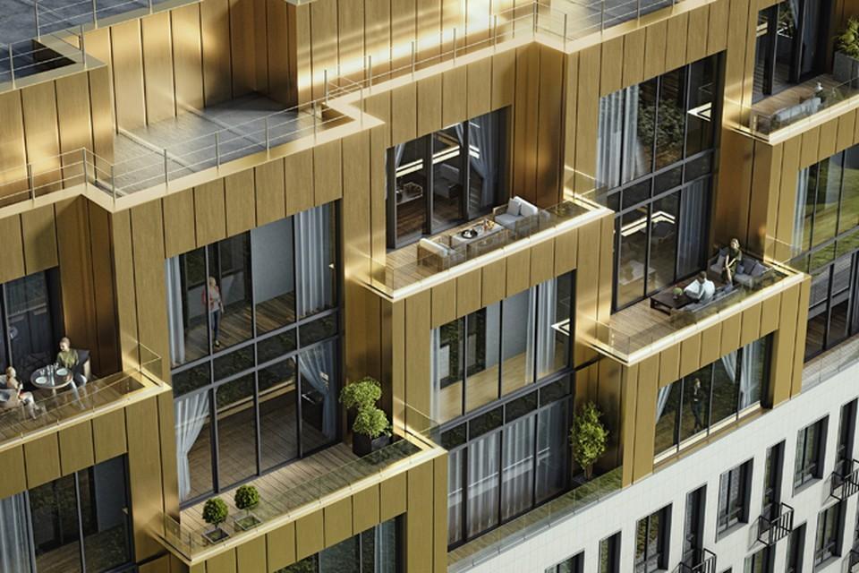 В архитектуре здания использовано большое количество стекла, вертикальных линий, а также сложная радиусная форма