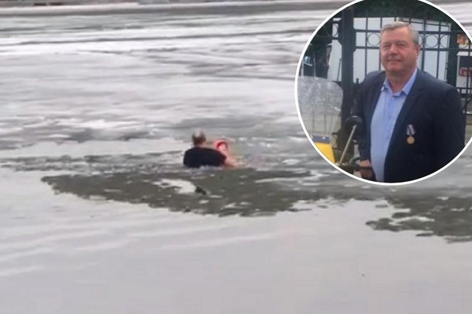 62-летний Владимир Степанищев, бывший сотрудник ГИБДД, спас девочку из воды. Фото: фрагмент видео/Владимир Тепанищев