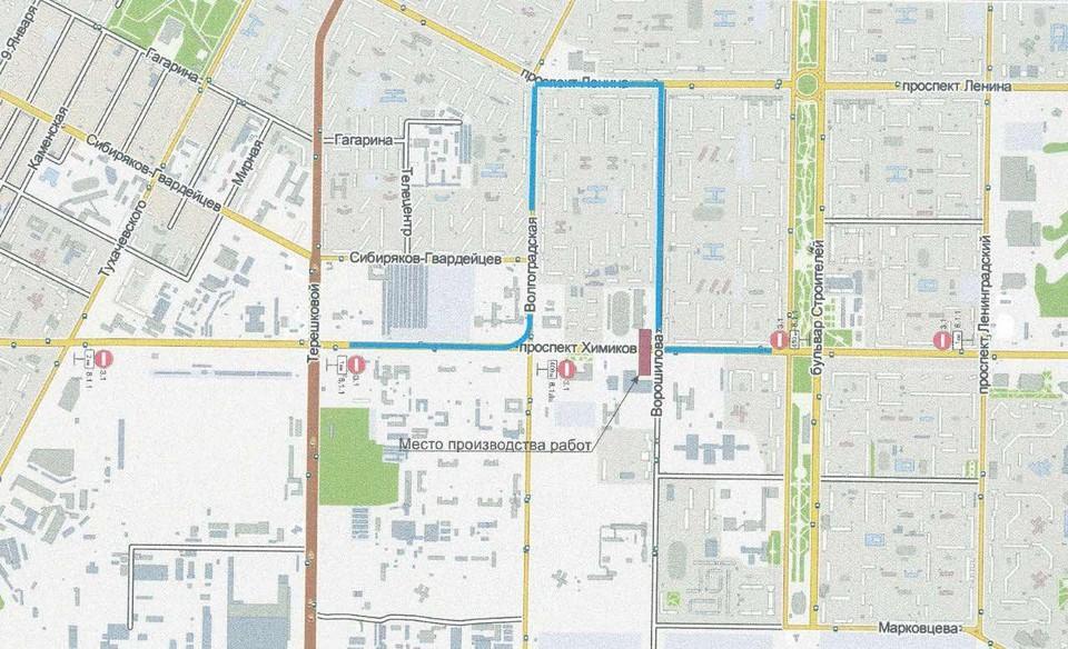 В Кемерове будет перекрыт проспект Химиков в районе улицы Ворошилова. Фото: УЕЗТУ.