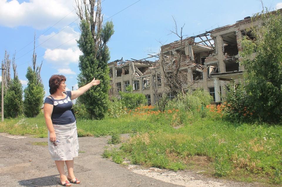 На фото разрушенная украинской армией школа в поселке Никишино