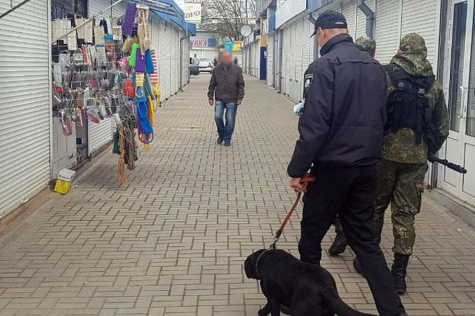 В Краматорске даже полицейские с собаками не могут остановить грабежи на рынках. Фото: НПУ