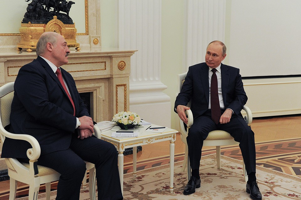 Президент России Владимир Путин на встрече с главой Белоруссии Александром Лукашенко