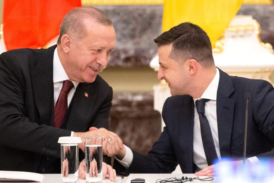 Реджеп Тайип Эрдоган и Владимир Зеленский после переговоров, лето 2020 г.