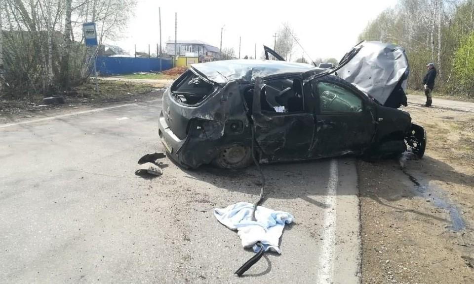 """Автомобиль вылетел на обочину и перевернулся. Фото: телеграм-канал """"Плохие новости"""""""