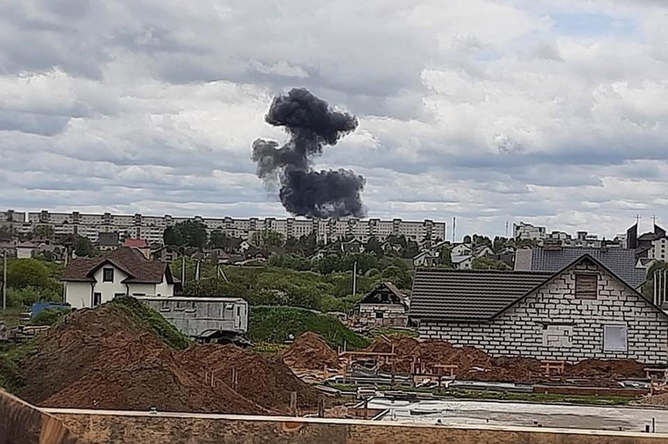 В Барановичах упал военный самолет. Фото: intex-press.by