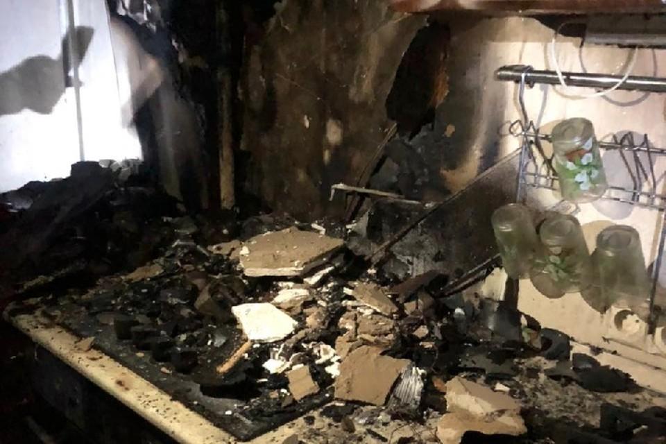 Пожар возник на кухне.