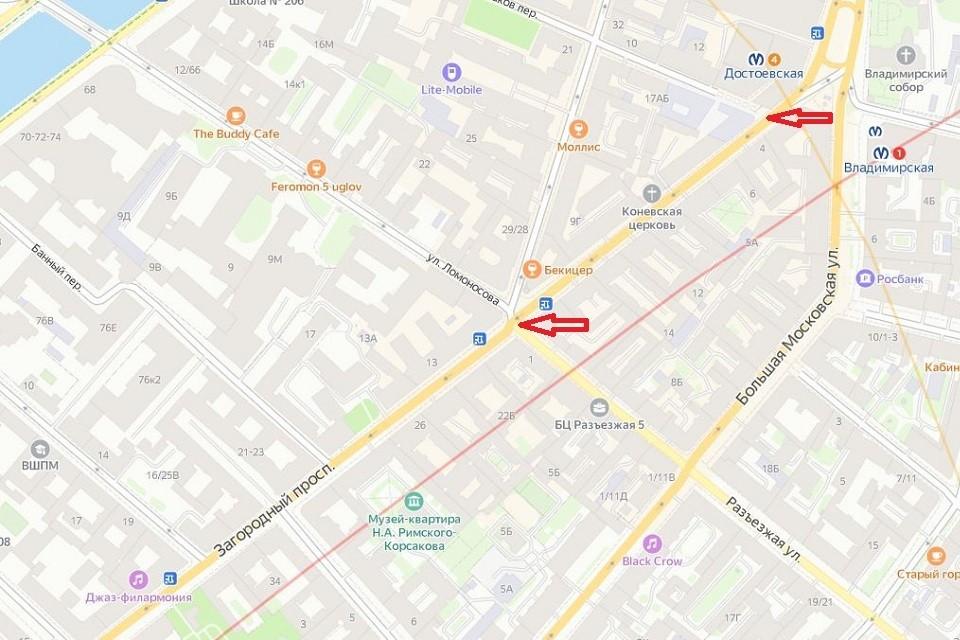 Проезд по Загородному проспекту ограничат на год. Фото: Яндекс.Карты