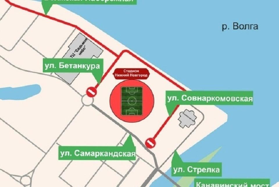Движение около стадиона «Нижний Новгород» перекроют 5 июня.