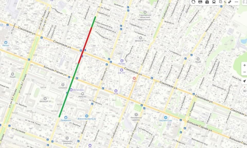 Зеленым цветом обозначен весь фронт работ, красным – участок, который перекроют завтра