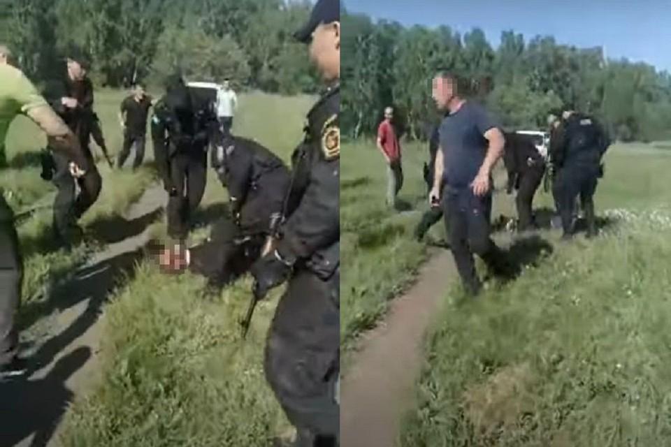 В МВД прокомментировали видео, где якобы новосибирский СОБР защищает инспектора ГИБДД от мигрантов. Фото: стоп-кадр.