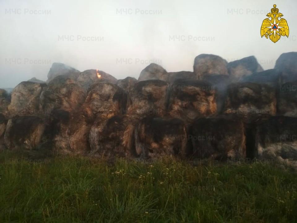 В Починковском районе сгорело 137 тонн заготовленного сена. Фото: ГУ МЧС России по Смоленской области.