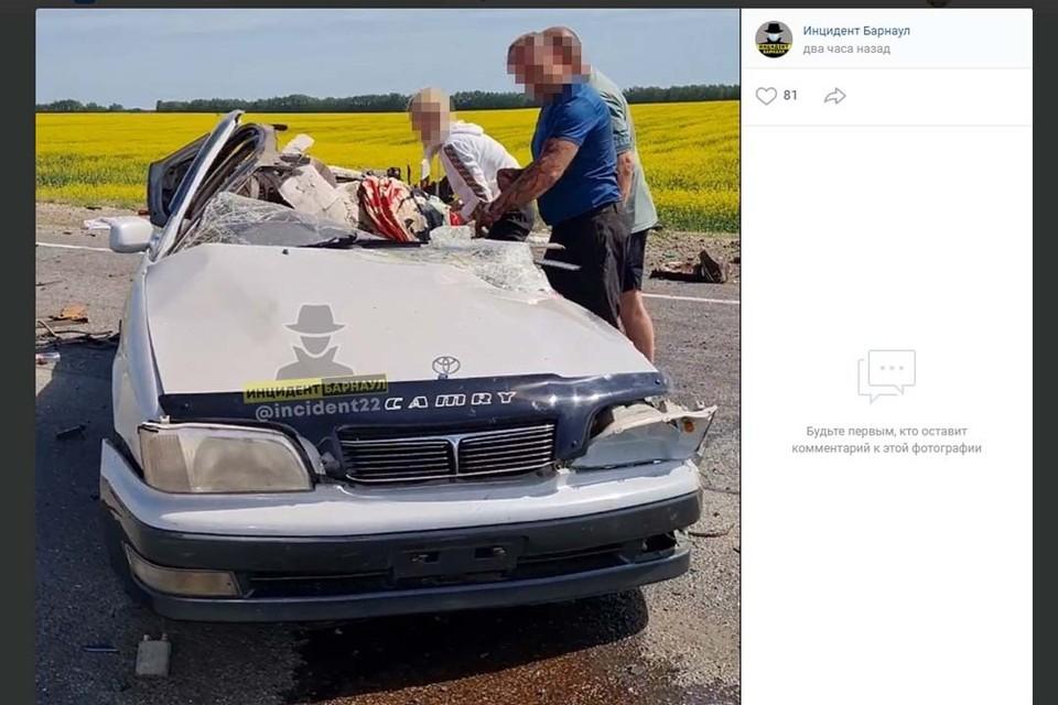 """Один из участников аварии (фото: скриншот страницы """"Инцидент Барнаул"""" во Вконтакте"""")"""
