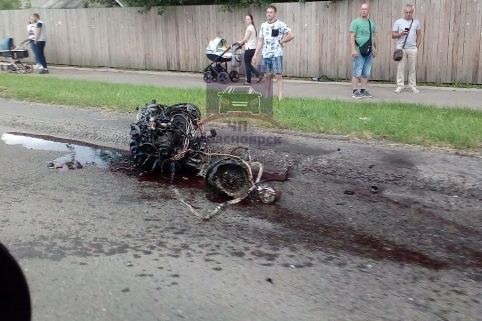 Вырванный двигатель из-за ДТП Фото: ЧП Красноярск