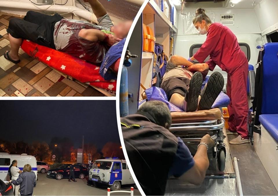 Окровавленного заправщика увезли в больницу. Фото: Право роста/vk.com