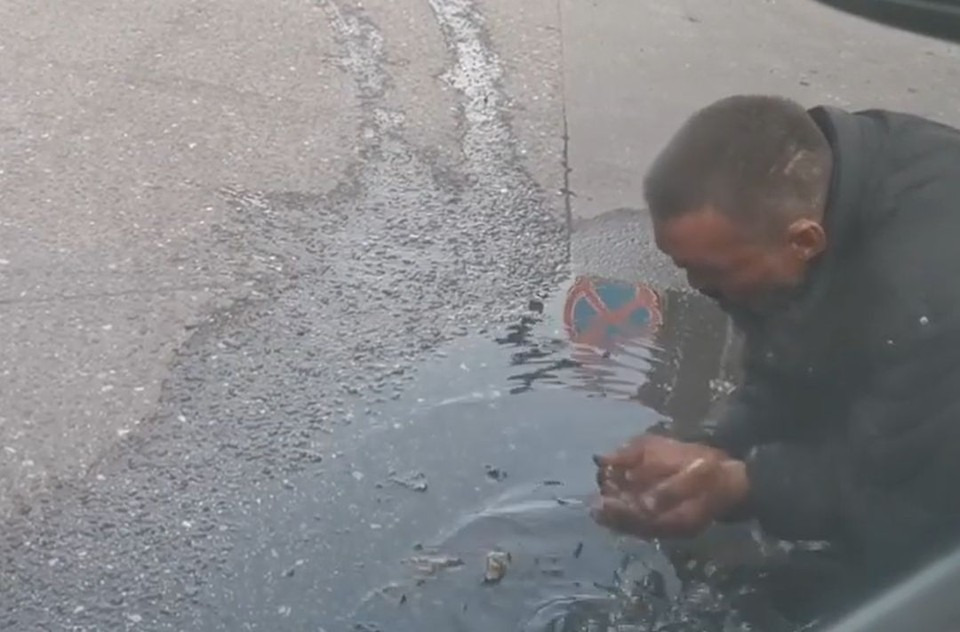 Новосибирец утолил жажду водой из лужи. Фото: стоп-кадр