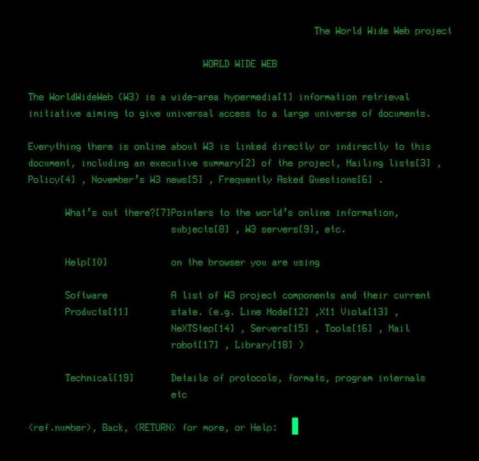 Так выглядел первый веб-сайт в мире в 1991 году.