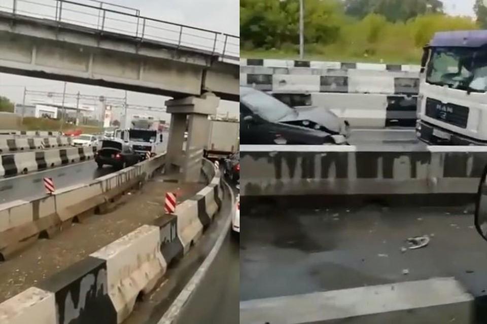 Под Новосибирском грузовик выехал на встречку и врезался в иномарку. Фото: Кадр из видео