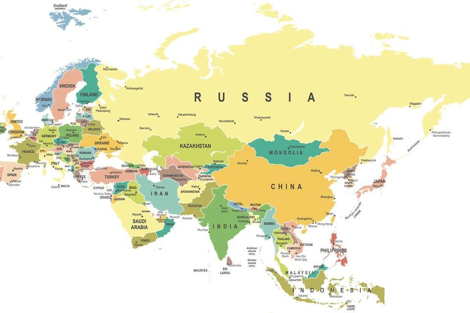 Евразия - крупнейший континент планеты, где живут две трети ее жителей.