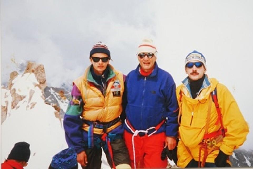 2005 год. Ильинский с сыновьями на восхождении в Заилийском Алатау