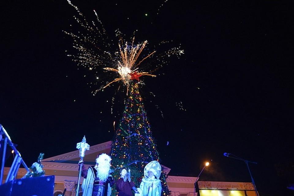 В Ставрополе зажгли новогоднюю елку