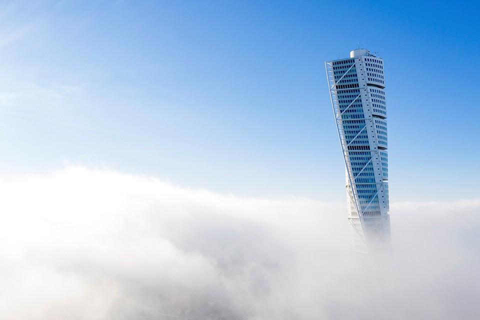 На шведский город Мальмё опустился сильный туман