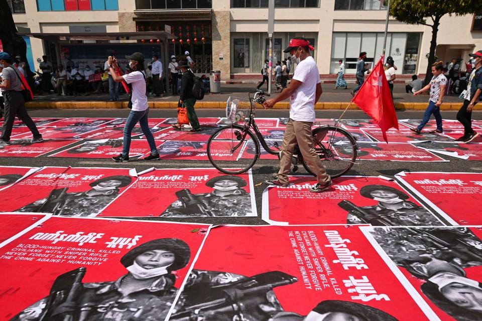 Акция протеста против военного переворота в Мьянме