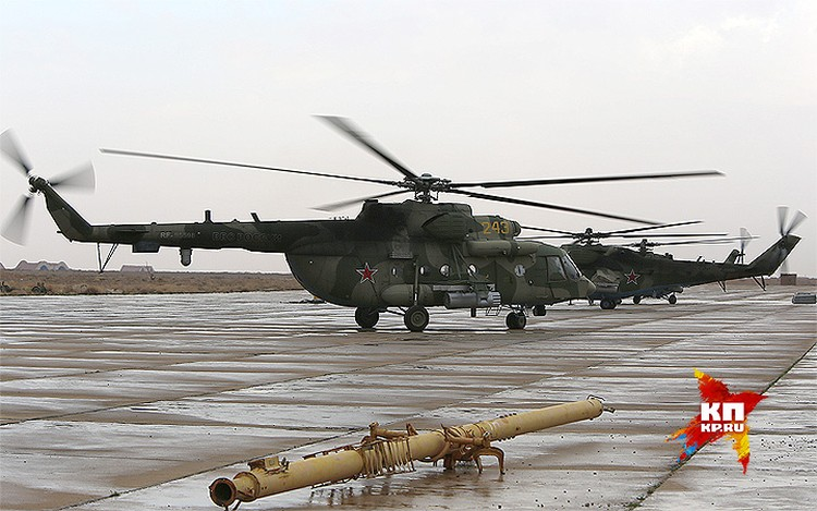 Февраль 2016 года. Военно-транспортный вертолет Ми-8 российских ВКС на авиабазе под Пальмирой.